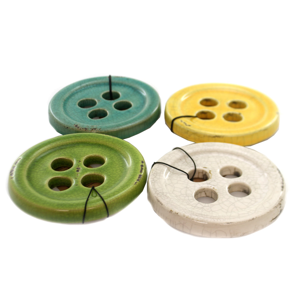 Home Decor BUTTON COASTERS Ceramic St/4 Sewing Da1716