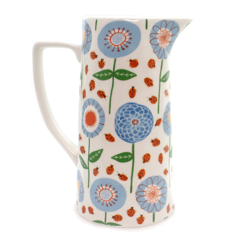 Tabletop FLORAL PITCHER Ceramic Ladybug Da7558 36883