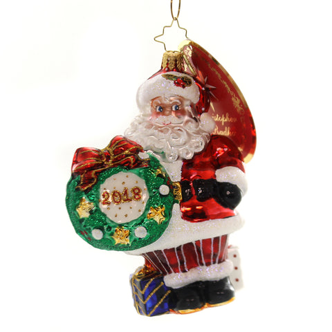 Christopher Radko 2018 MAKING THE ROUNDS Glass Santa Wreath 1019260 36935