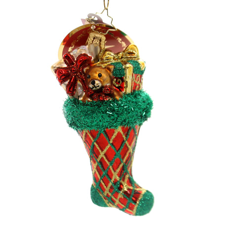 Christopher Radko ARGYLE SMILE Glass Stocking Plaid 1019387 36936