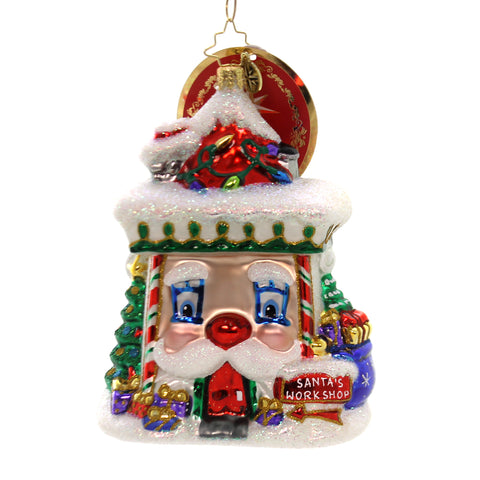 Christopher Radko FACING WORK HEAD-ON Glass Santa's Work Shop 1019454 36938