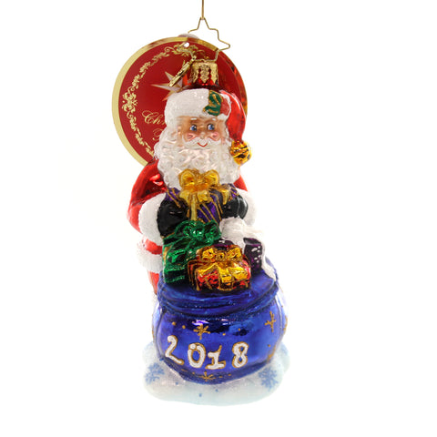 Christopher Radko I DIG 2018 Glass Santa Bag Dated 1019238 36940