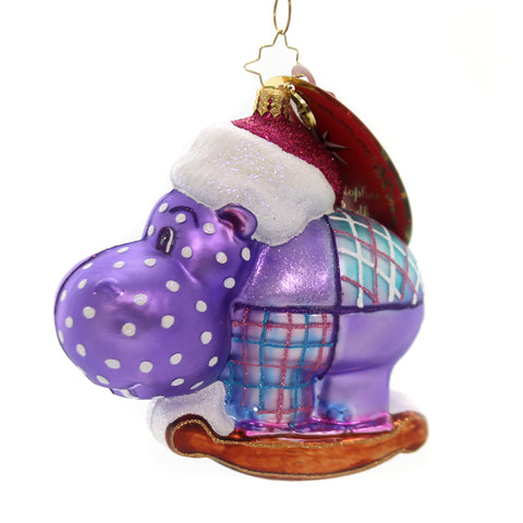 Christopher Radko HAPPY HOLIDAY, HIPPO! Glass Nightcap Animal 1019375 36951