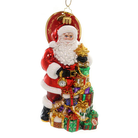 Christopher Radko PRESENT PILE-UP Glass Santa Time Gifts 1019226 36961