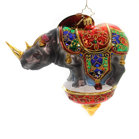 Christopher Radko ROYAL RHINO Glass Circus Perform 1019223 36965