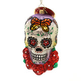 Christopher Radko A HEAD FOR DETAILS Glass Skeleton Skull Roses 1019524