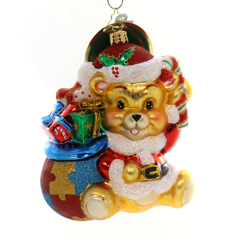 Christopher Radko A WINTER BEAR'S HEART Blown Glass Ornament Aids Charity Panda