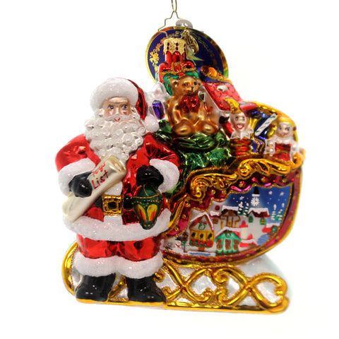 Christopher Radko HOME IS WHERE THE SLED IS Ornament 2018 Santa Village 1019427 36974
