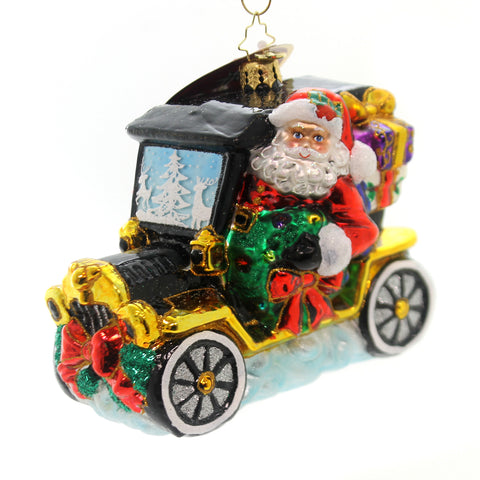 Christopher Radko JOYFUL RIDE Glass Ornament New 2018 Car Santa 1018910 36976