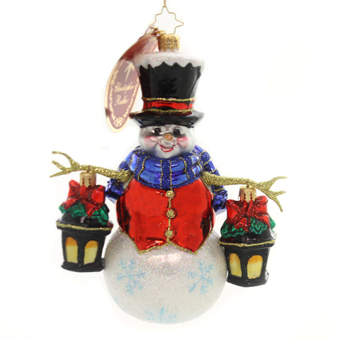 Christopher Radko WINTER WATCH Glass Ornament New 2018 Snowman Glow 1019572 36977