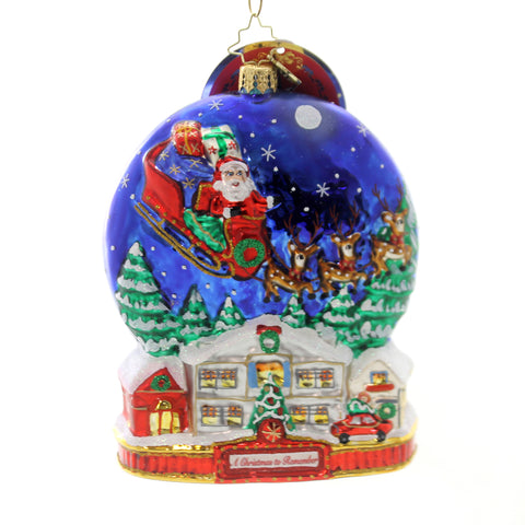 Christopher Radko MIDNIGHT ARRIVAL Glass Ornament Christmas Remember 1019590 36985