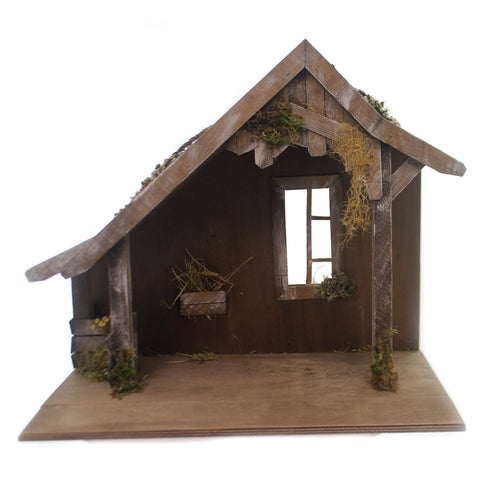 Marolin WOODEN STABLE w/ WINDOW Wood Nativity German Christmas Birth 809960 36991