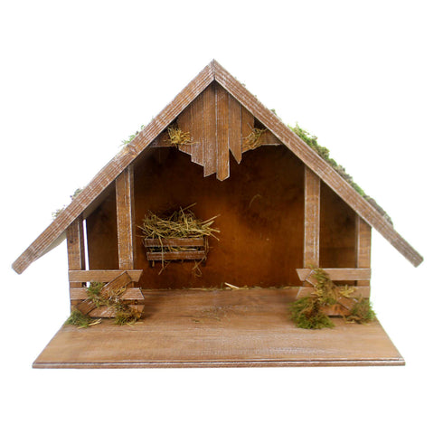 Marolin WOODEN STABLE w/ GABLE ROOF Wood Nativity Germany Christmas 809060 36992