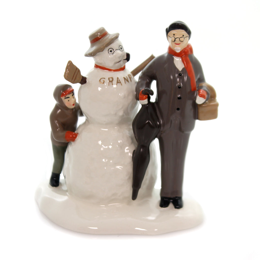 Department 56 Accessory NORMAN ROCKWELL'S GRANDFATHER & SNOWMAN Saturday Evening Post 6000649