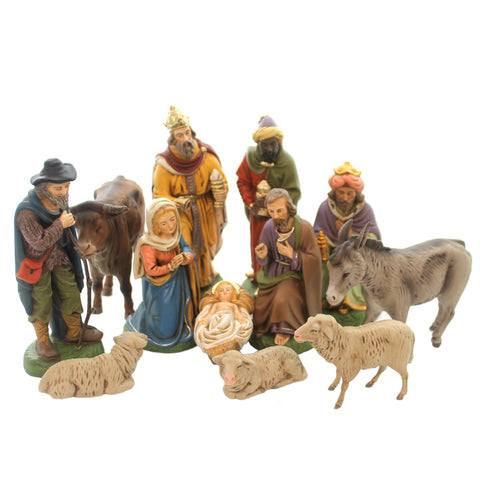 Marolin NATIVITY  SET OF 12 Paper Mache Germany Mary Joseph Kings 151160 37127