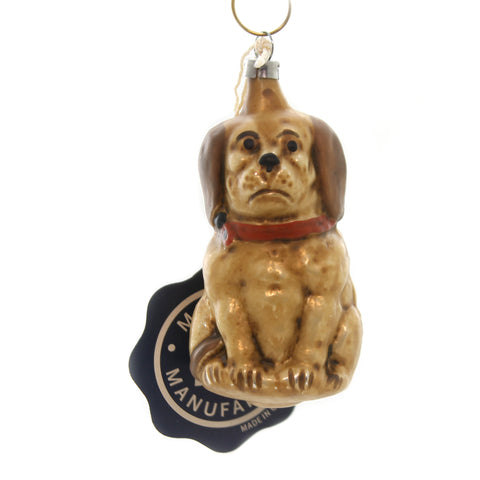 Marolin VINTAGE LOOKING DOG Glass Ornament Feather Tree 2011056 37130