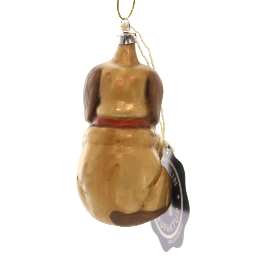 Marolin VINTAGE LOOKING DOG Glass Ornament Feather Tree 2011056