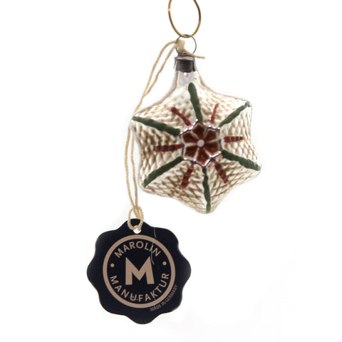 Marolin VINTAGE LOOKING STAR Glass Ornament Feather Tree 2011064F 37131