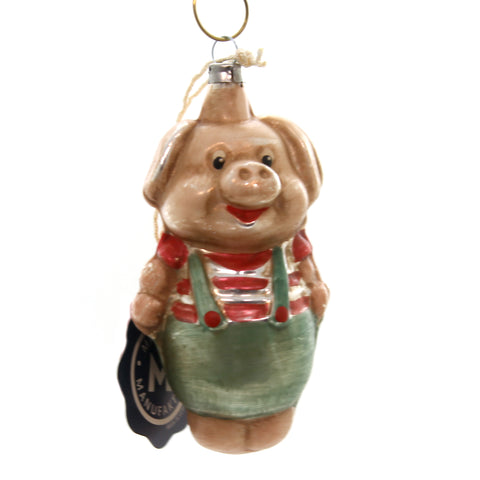 Marolin PIG IN PANT VINTAGE LOOKING Glass Ornament Feather Tree 2011103 37133