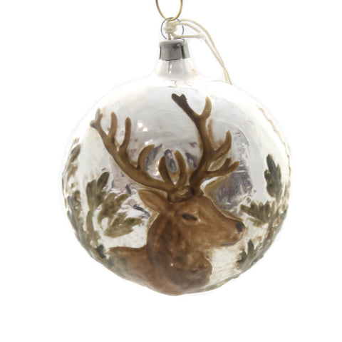 Marolin STAG HEAD VINTAGE LOOKING Glass Ornament Feather Tree Germany 2011037 37152