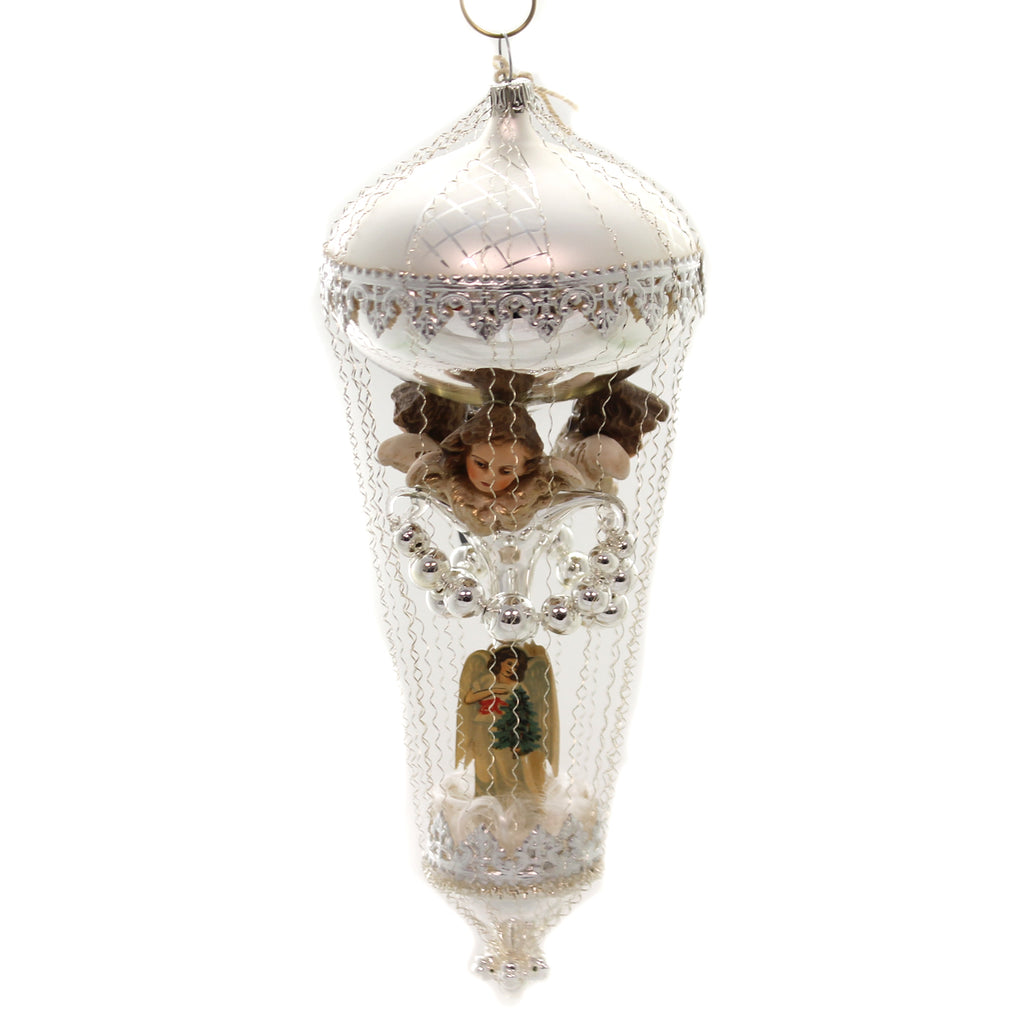 Marolin BALLOON w/ 3 ANGEL HEADS Glass Ornament Germany Gilded Wire 6003000