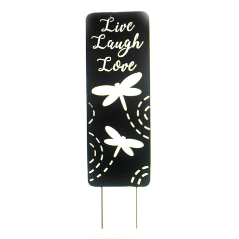Home & Garden LIVE LAUGH LOVE YARD PANEL Metal Dragonfly Yard Sign 63690 37181