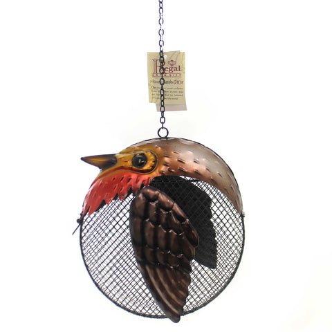 Home & Garden ROBIN FAT BIRD SEED FEEDER Metal Outdoor Accents 11919 37217