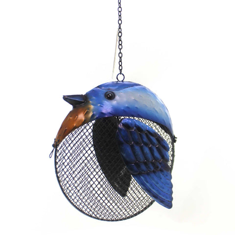 Home & Garden BLUE JAY FAT BIRD SEED FEEDER Metal Outdoor Decor 11917 37218