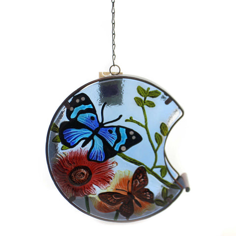Home & Garden BUTTERFLY HAND PAINTED BIRD FEEDER Glass Outdoor Decor 11686 37219