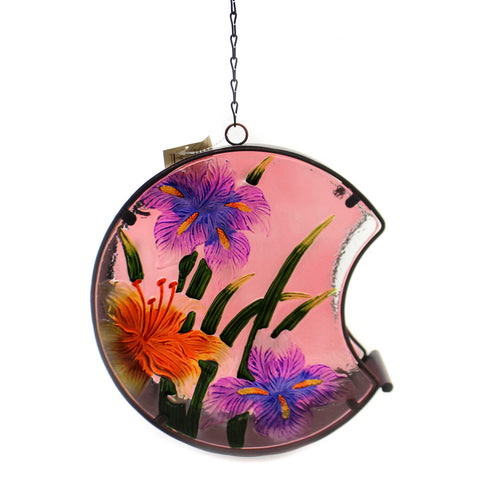 Home & Garden IRIS HAND PAINTED BIRD FEEDER Glass Outdoor Decor 11688 37220