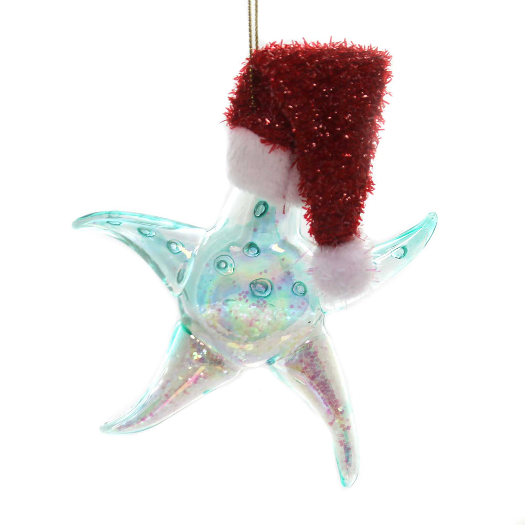 Holiday Ornaments STARFISH WITH SANTA HAT Glass Department 56 6002500