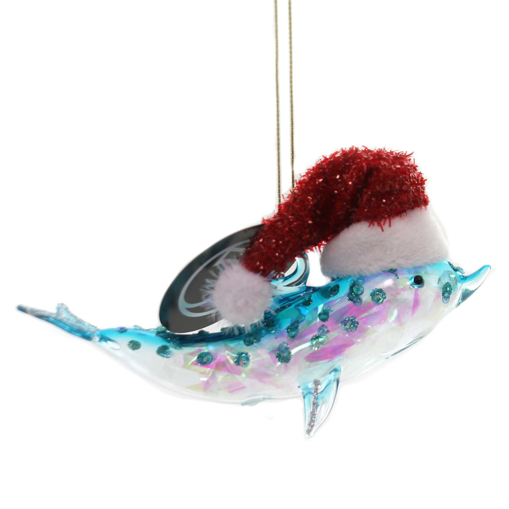 Holiday Ornaments DOLPHIN WITH SANTA HAT Glass Department 56 6002498