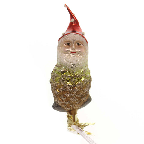 Inge Glas PINECONE GNOME ENCHANTED FOREST Glass Glittered 10013S017 37288
