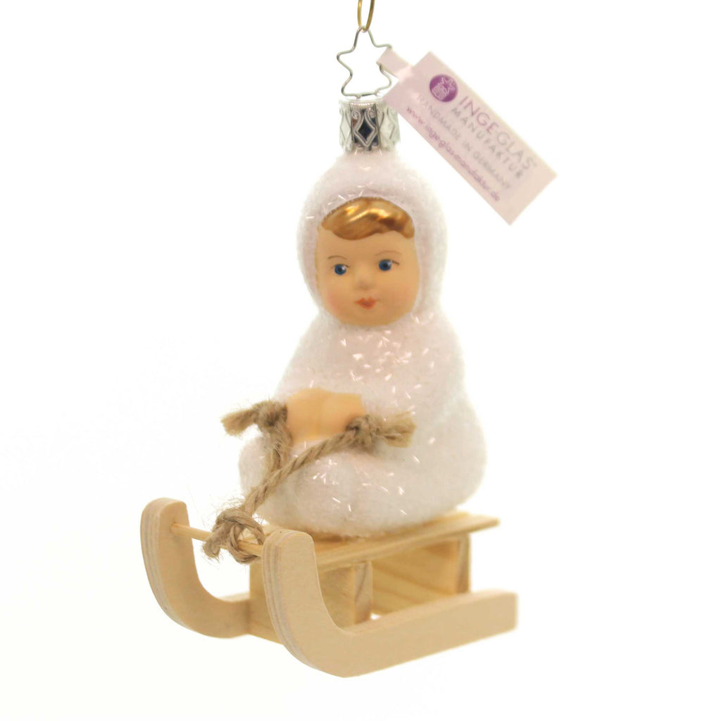 Inge Glas KINDER OF SLEDDING Glass Ornament Snow Christmas 10005S018
