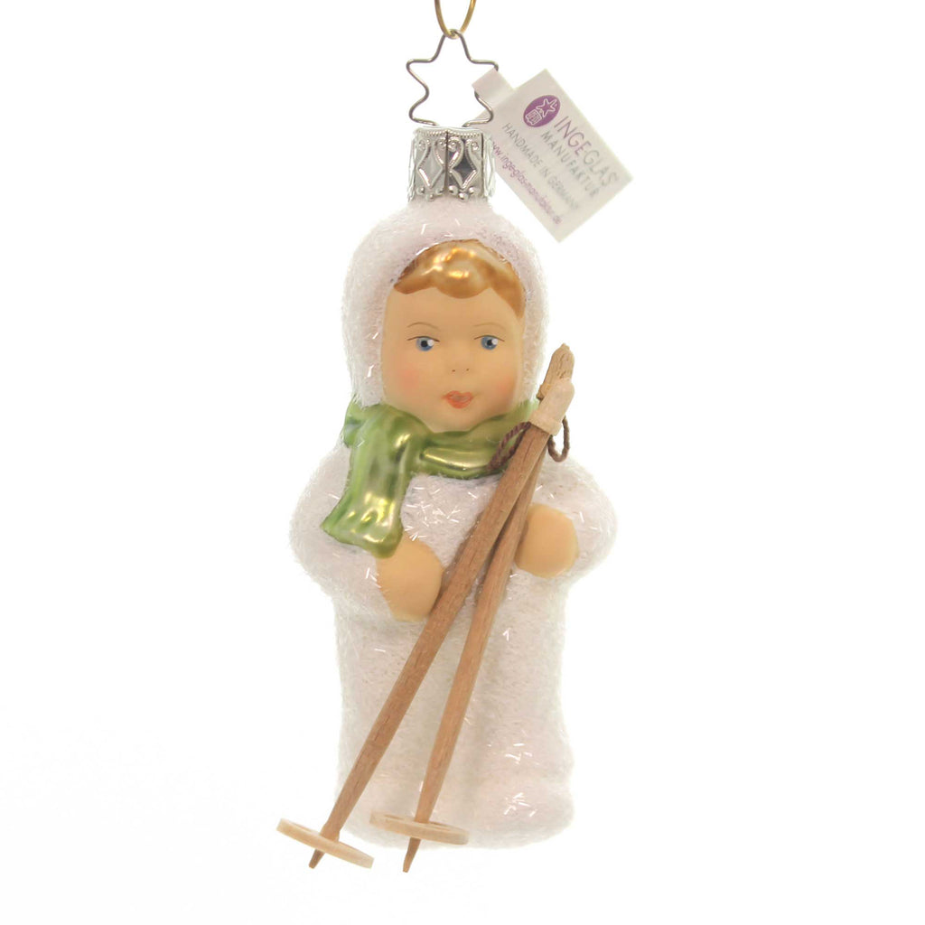 Inge Glas KINDER OF SKIING ORNAMENT Glass Christmas Snow Sport 10006S018