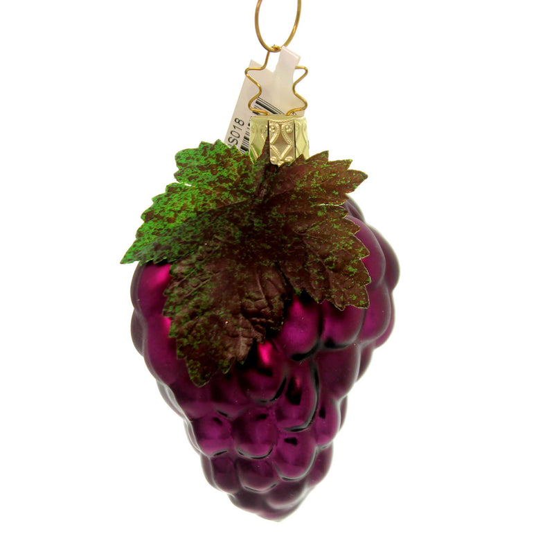 Inge Glas HARVEST GRAPES ORNAMENT Glass Fruit Concord Purple 10079S018