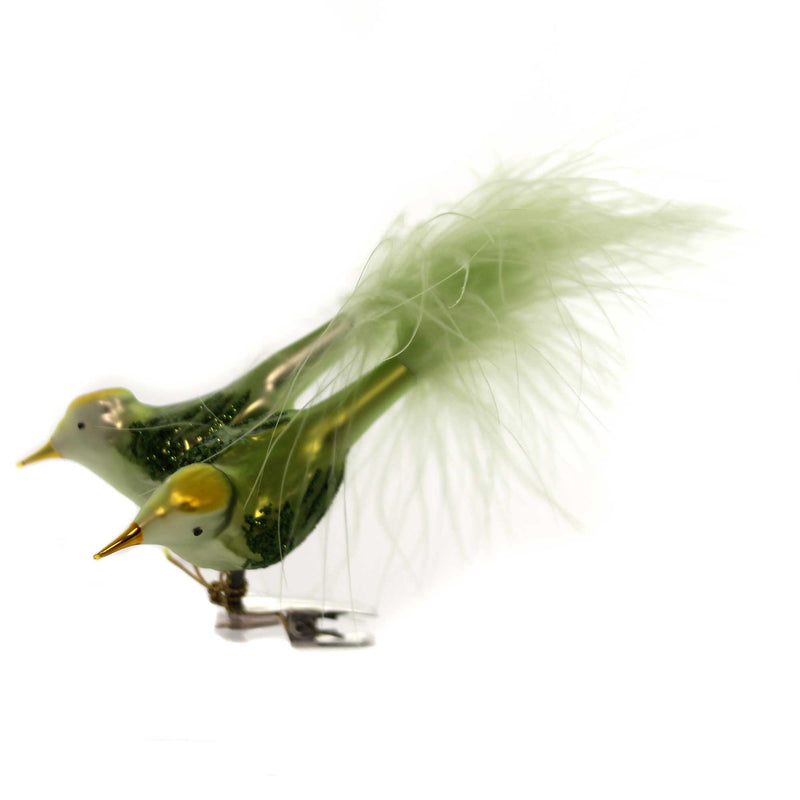 Inge Glas SPRING DUE Glass Ornament Clip On Feather 10157S018