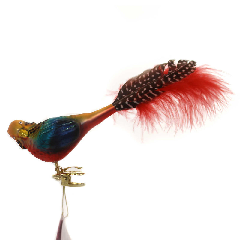 Inge Glas EXOTIC PARROT Glass Ornament Tropical Feather 10159S018