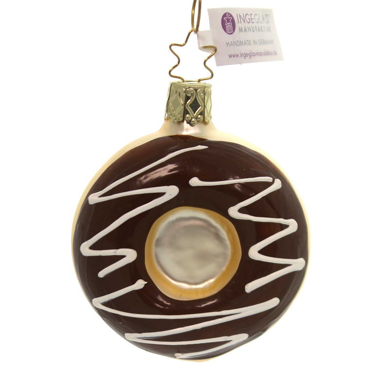 Inge Glas CHOCOLATE FROSTED Glass Ornament Donut Sweets 10194S018