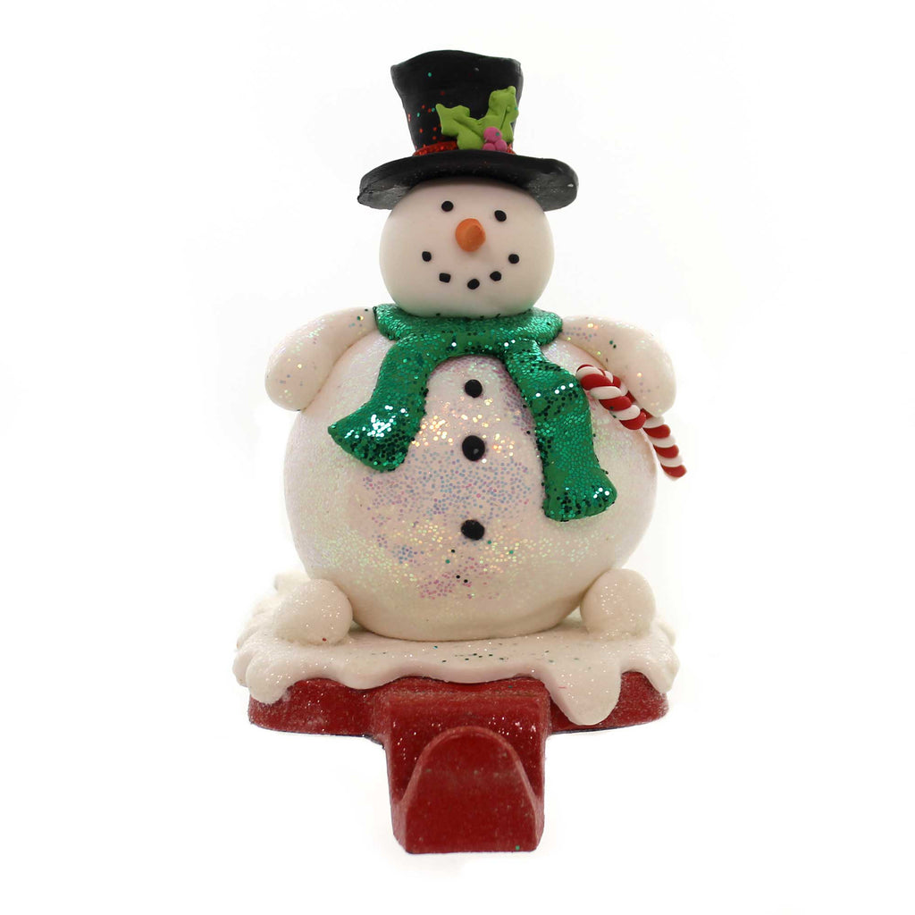 Christmas SANTA/SNOWMAN STOCKING HOLDER Clay/Dough Pewter D2870 Snowman