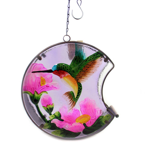 Home & Garden HUMMINGBIRD PAINTED BIRD FEEDER Glass Outdoor Decor Nature 11689 37522