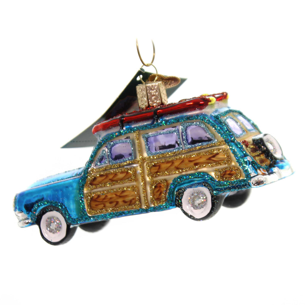 Old World Christmas SURF'S UP WAGON Glass Woody Ornament 46071