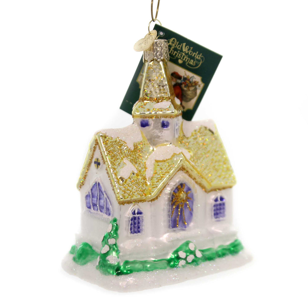 Old World Christmas GOLDEN CATHEDRAL Glass Church Ornament 20105