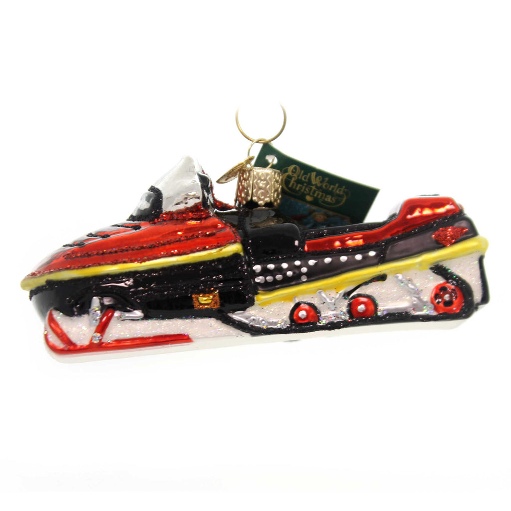Old World Christmas SNOWMOBILE Glass Winter Wonderland 46074