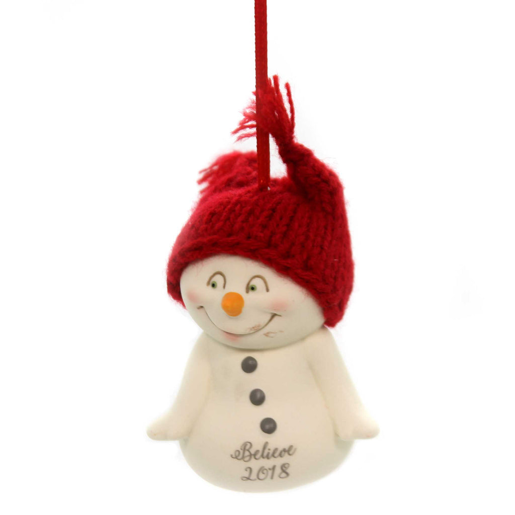 Holiday Ornaments BELIEVE, 2018 SNOWPINION ORN Porcelain Department 56 6001968