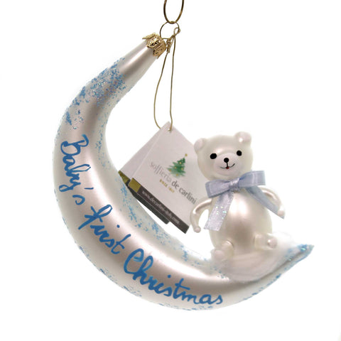 De Carlini BABYS FIRST CHISTMAS Glass Ornament Birth Italian Ba1736 Blue 37691
