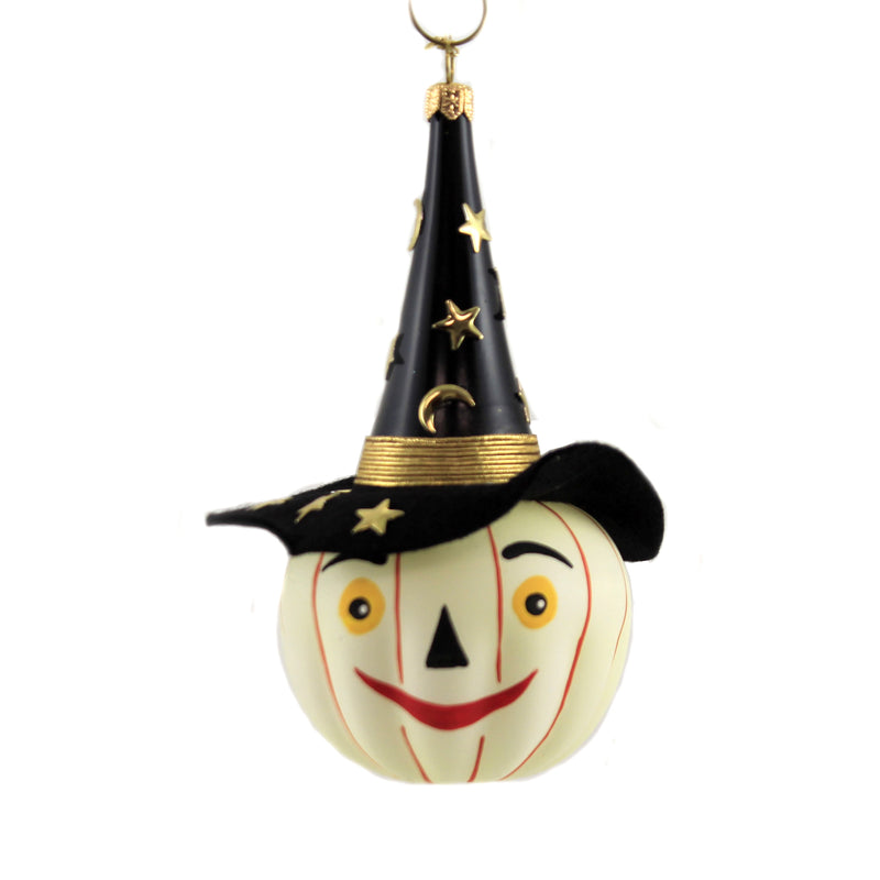 De Carlini GLOW IN DARK PUMPKIN w/ HAT Ornament Halloween Jol Crescent V3558