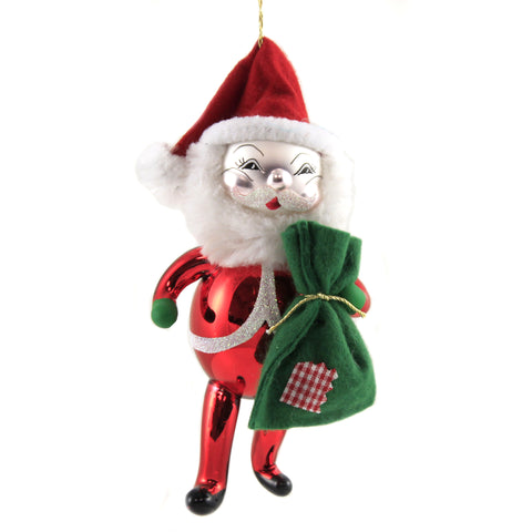 De Carlini SANTA WITH GREEN SACK Glass Claus Christmas Italian Bn320 37701