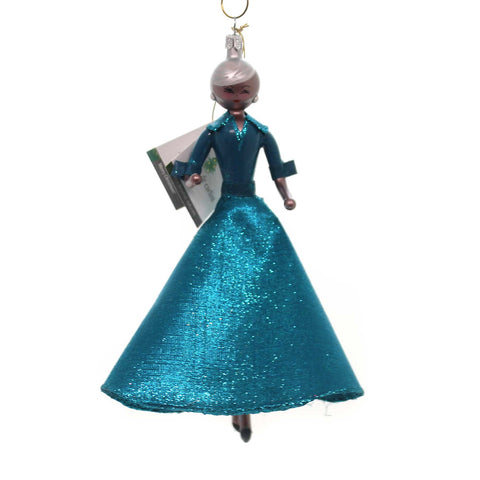 De Carlini ELLEN IN TEAL GLITTERED DRESS Glass Italian African American Do7580 37712