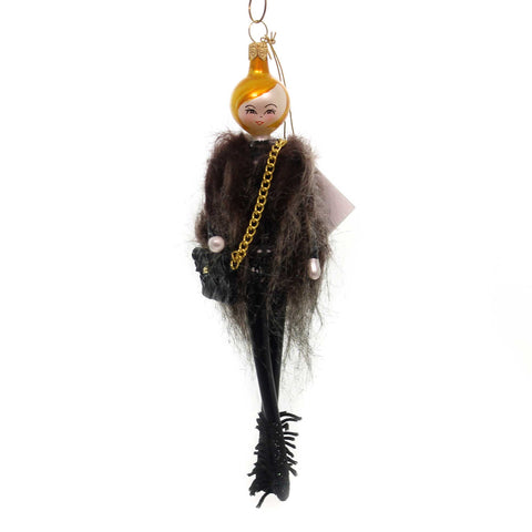 De Carlini RAEGAN IN FUR VEST Glass Ornament Italian Black Boots Do7510 37713